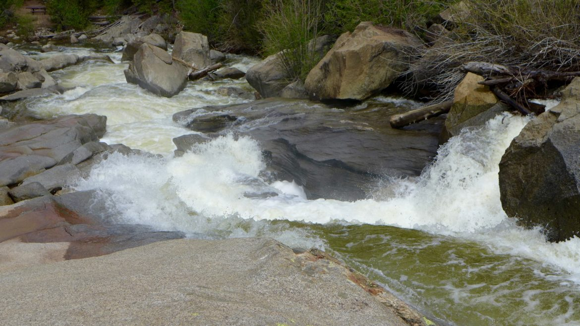 Roaring Fork River, Grottos, on Monday morning June 13, 2016, with diversions into the Twin Lakes Tunnel at over 600 cfs. While impressive at this level, the whitewater frenzy that resulted after the tunnels were closed was far more intense.