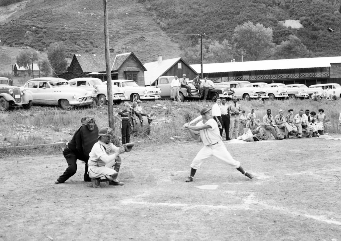 The Aspen town team plays a team from Camp Hale, near Leadville, in Wagner Park in Aspen in 1955.