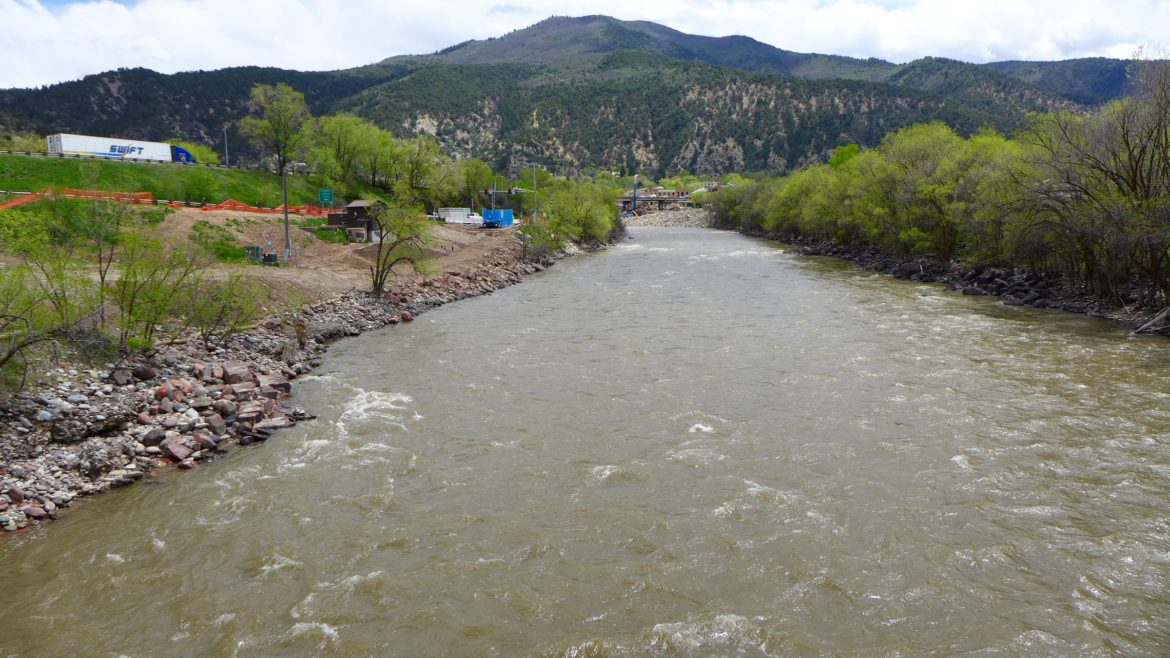 Looking up the Colorado River toward Glenwood Springs at Two Rivers Park, where the city of Glenwood may someday build a whitewater park. The city has been working since 2013 on securing a recreational water right for three such parks on the river.