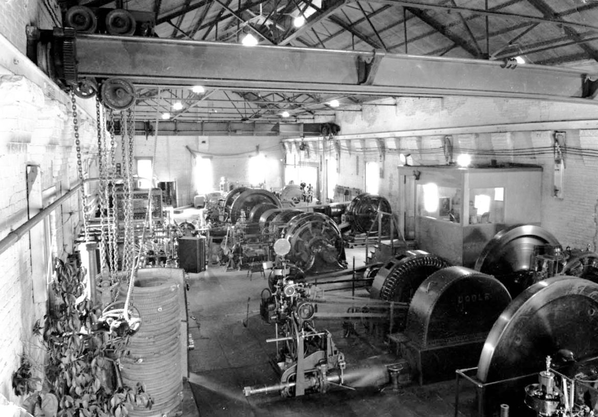 The interior of the Castle Creek hydroelectric power plant,about 1950. The water from Castle Creek used to make power would form the core of the City of Aspen's portfolio of senior water rights.