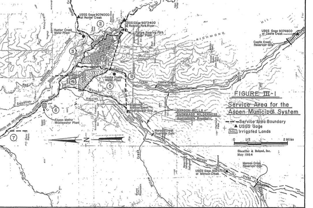 This map from 1984 is one of the few ever published that puts the Maroon and Castle creek reservoirs into the context of the city's overall water system.