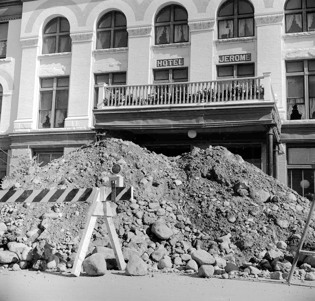 There was lot of construction underway in Aspen in September 1960, including trenching on Main Street in front of the Hotel Jerome to replace water pipes.