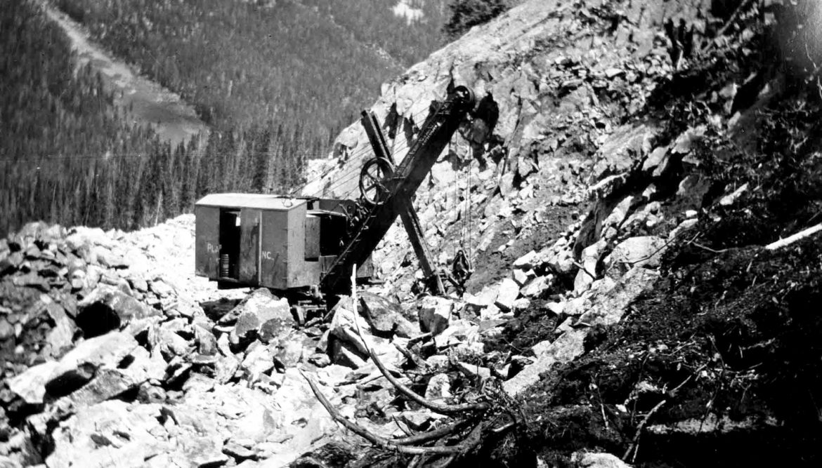 Construction in 1934 on the Twin Lakes - Independence Pass water system. The project was one of the first large transmountain diversion projects in Colorado and today takes water from the Roaring Fork River and Lost Man, Lincoln, Grizzly, New York, Brooklyn and Tabor creeks.