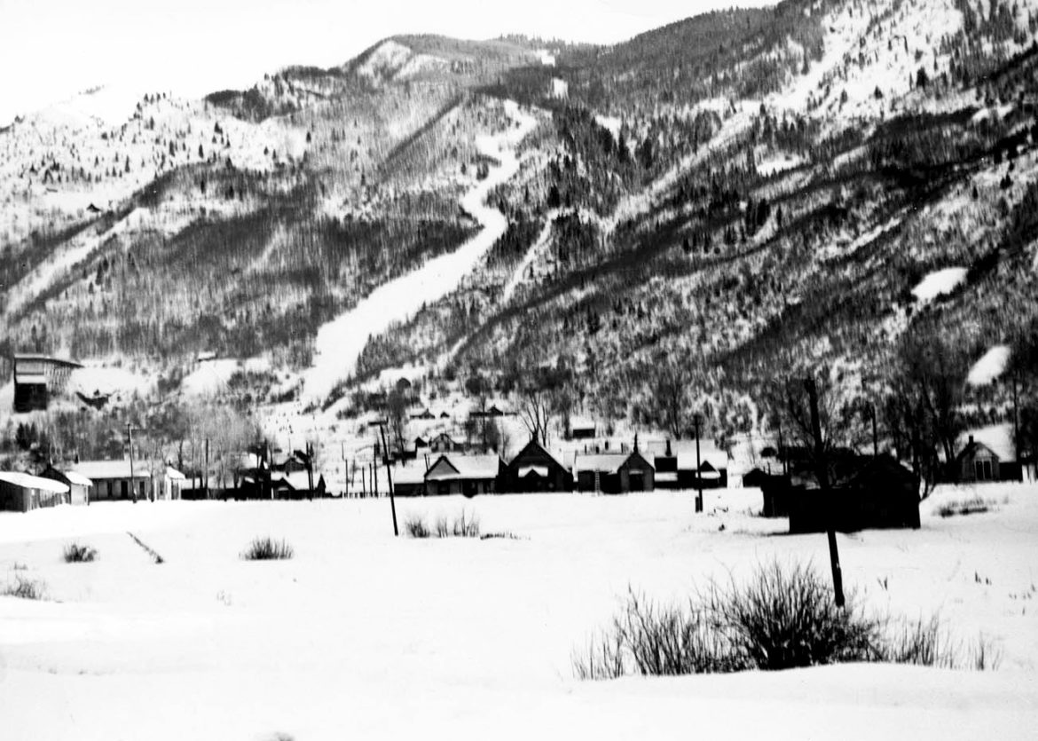 A 1930s view of Roch Run, the first ski trail on Aspen Mountain. A boat tow was in use to access the top of the run.