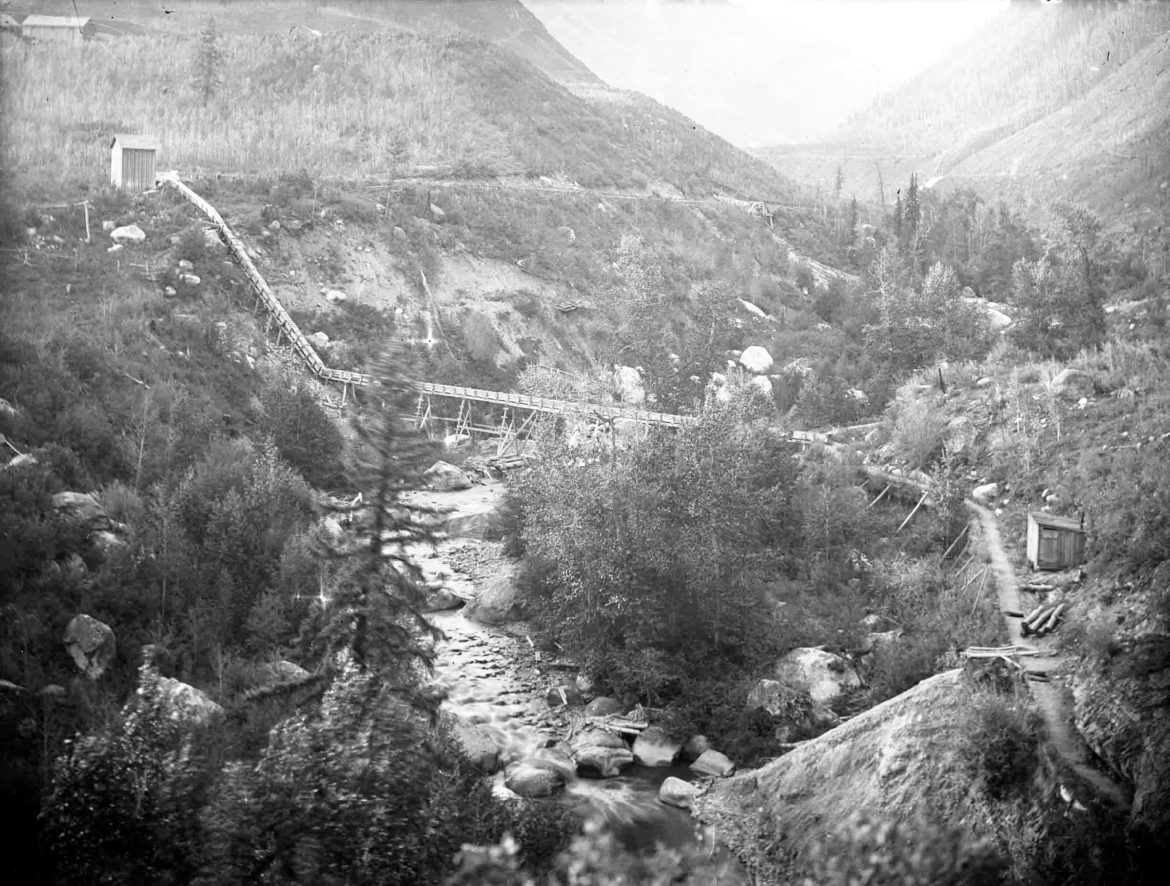 The lower end of the flume on Castle Creek, a direct predecessor of today's Aspen water system.