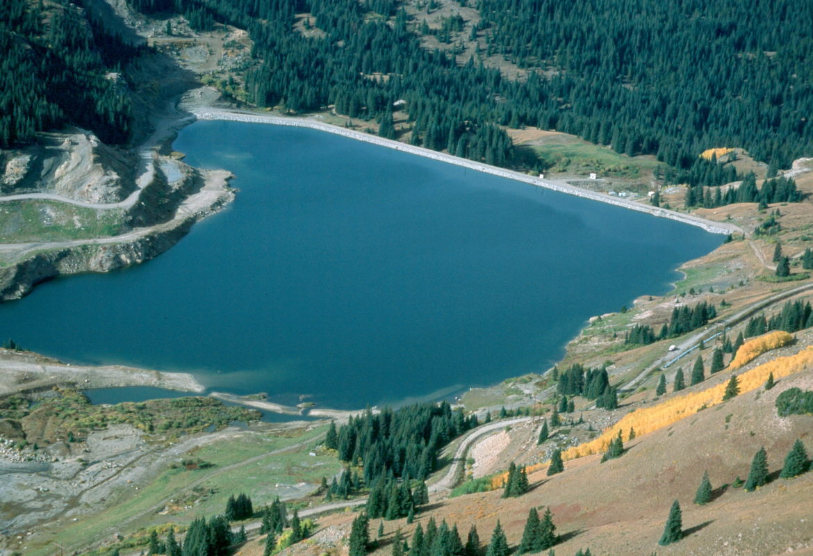 An aerial view of Eagle Park Reservoir, near Leadville and the Climax Mine, that could be expanded to store more water.