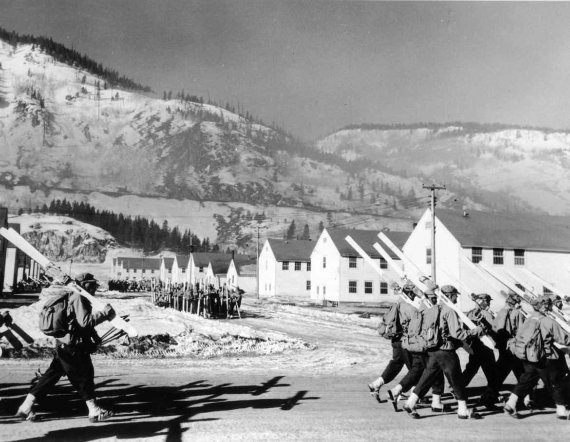 Soldiers marching at Camp Hale during WWII.