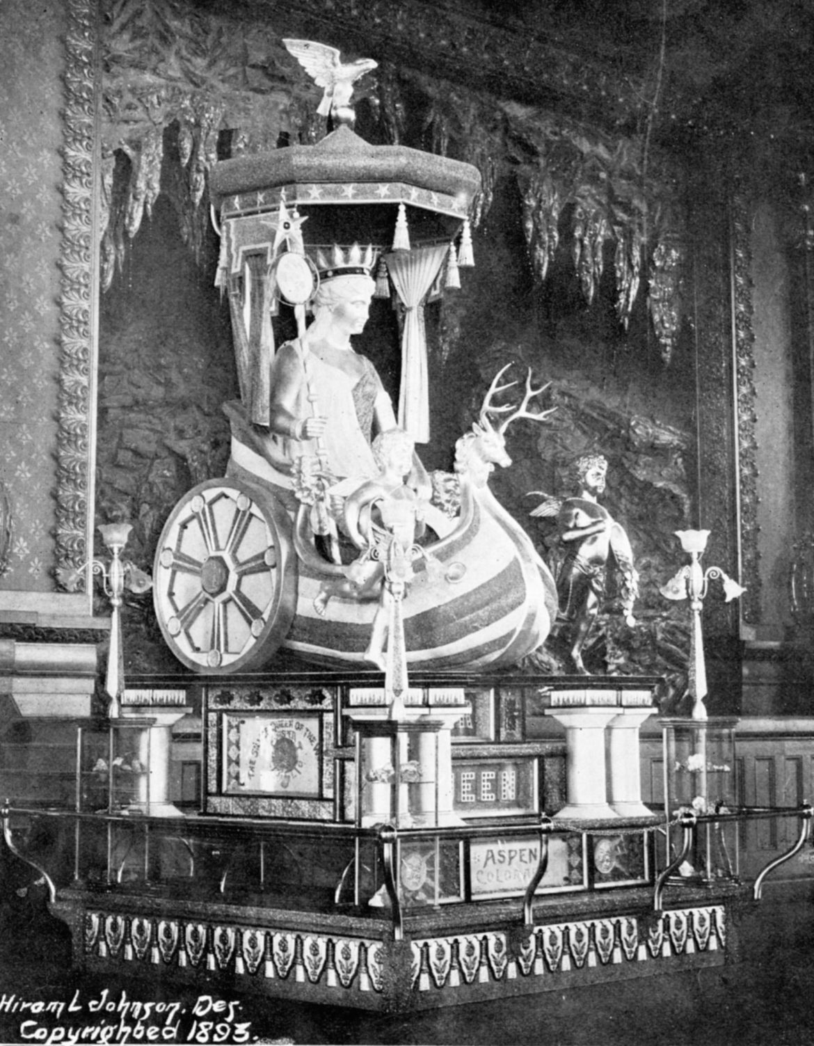 The Silver Queen statue on display at the Pueblo Mineral Palace in 1893 before being shipped to Aspen for viewing and then on to the Chicago World's Fair. The Queen's disappearance after the fair has been an Aspen mystery to this day.