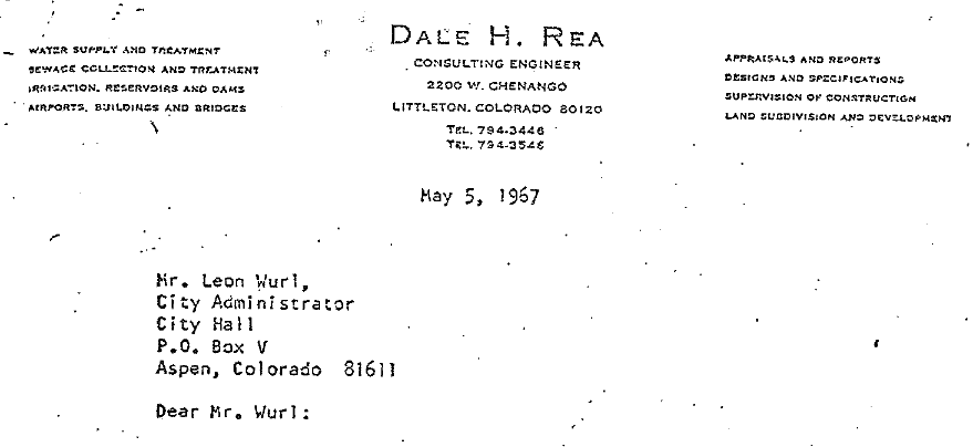 A detail of a letter sent by Dale Rea to the Aspen city manager in 1967 about studying the Maroon and Castle creek reservoirs.