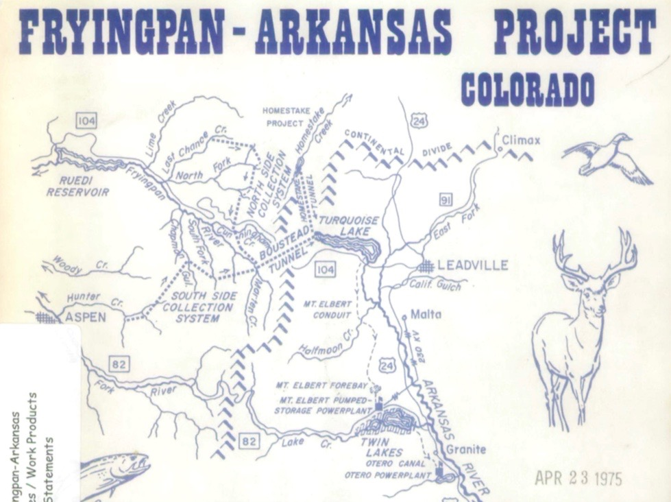 A detail of the cover of a 1975 EIS on the Fry-Ark Project that was prepared the Bureau of Reclamation.