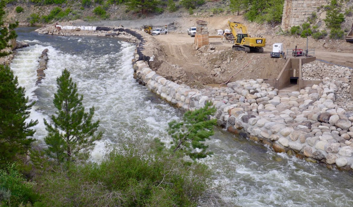 A river project, partially funded by the CWCB on the Arkansas River at Granite. The project was removing a river-wide diversion structure and replacing it with a new diversion structure that will allow unimpeded boating through Granite. Photo by Brent Gardner-Smith/Aspen Journalism