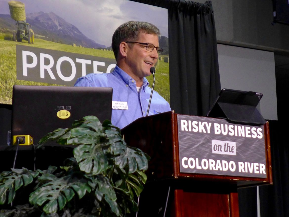 General Manager of the Colorado River Water Conservation District Andy Mueller speaks at the district's annual seminar in 2018. Mueller told the audience the Upper Basin needs to reduce its consumptive use at the Colorado River Water Users Association conference in Las Vegas earlier this month. Photo by Brent Gardner-Smith/Aspen Journalism.