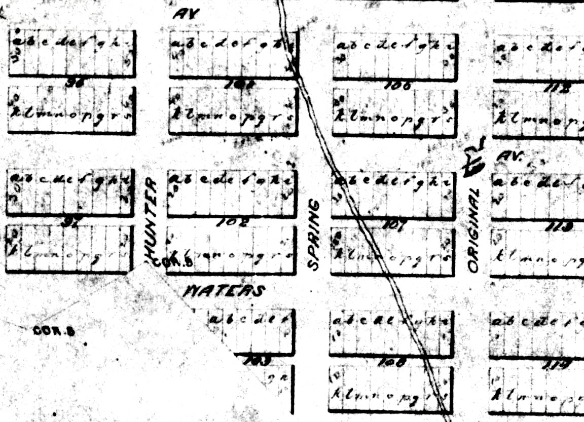 A detail of an 1881 map shows a portion of the route of the flow from Ute Spring, crossing Spring Street toward Original. The spring was at the foot of Aspen Mountain, about where today's Aspen Alps office stands.Photo credit: Aspen Historical Society