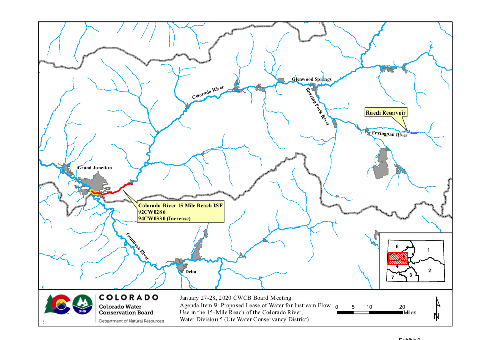 This map shows the 15-mile reach of the Colorado River near Grand Junction, home to four species of endangered fish. Water from Ruedi Reservoir flows down the Fryingpan River and into the Roaring Fork, which flows into the Colorado River in Glenwood Springs. Map by Colorado Water Conservation Board.