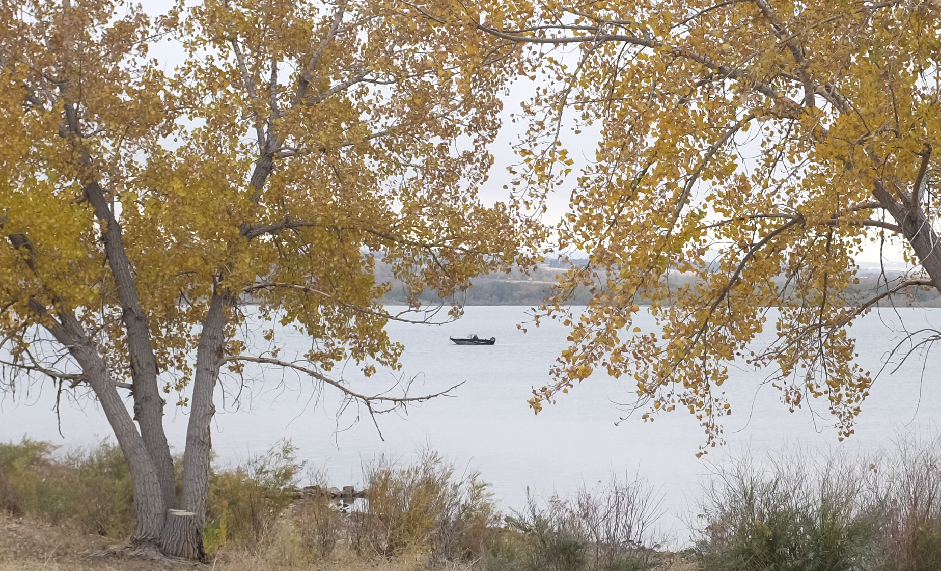 A boater floats in the waters at Chatfield Reservoir, near Denver, on Oct. 18. Reservoirs across the state reported surging or record use this year as the COVID-19 pandemic drove more people outdoors. Those higher numbers corresponded with increased inspections and interceptions of invasive mussels, which state authorities are trying to keep out of Colorado reservoirs.
